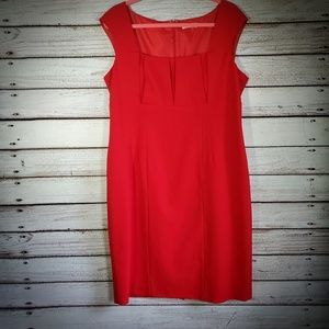 Calvin Klein Red Square Neck Pleated Dress Size 14